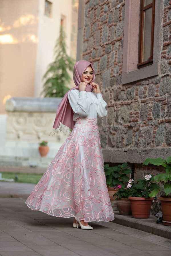 Pınar Şems Tesettür Tül Etek Modelleri