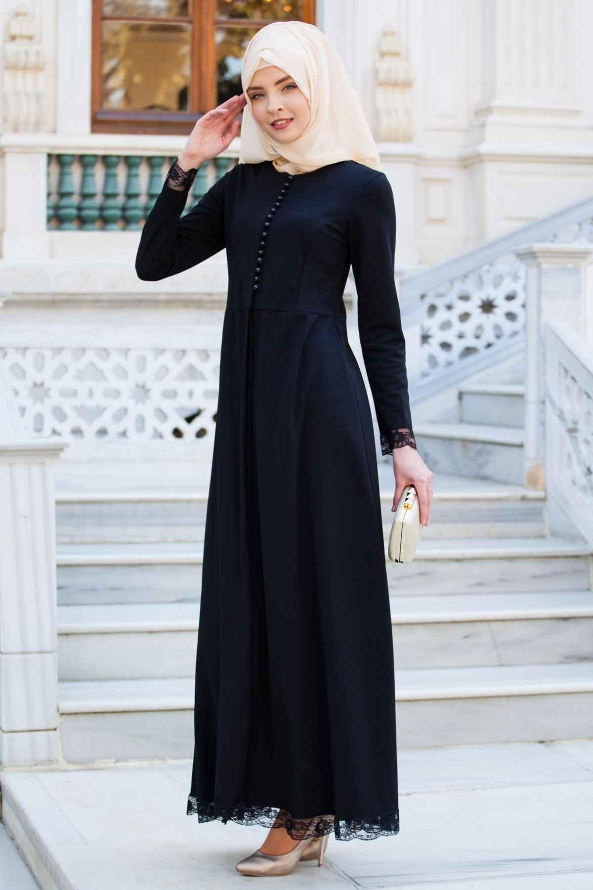 Sedanur Ceket Görünümlü Tesettür Dantelli Elbise Modelleri