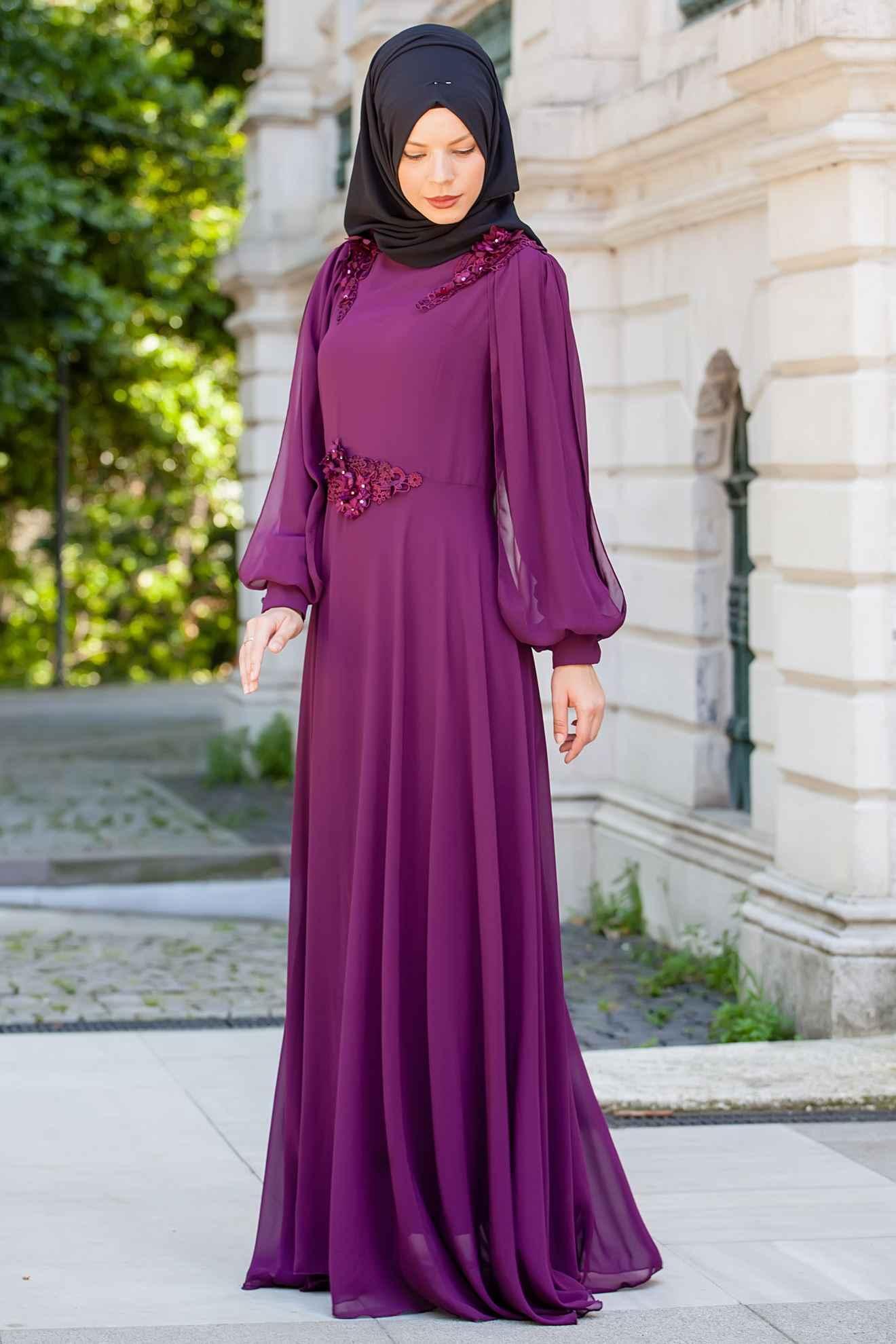 Sedanur Dantelli Tesettür Şifon Elbise Modelleri