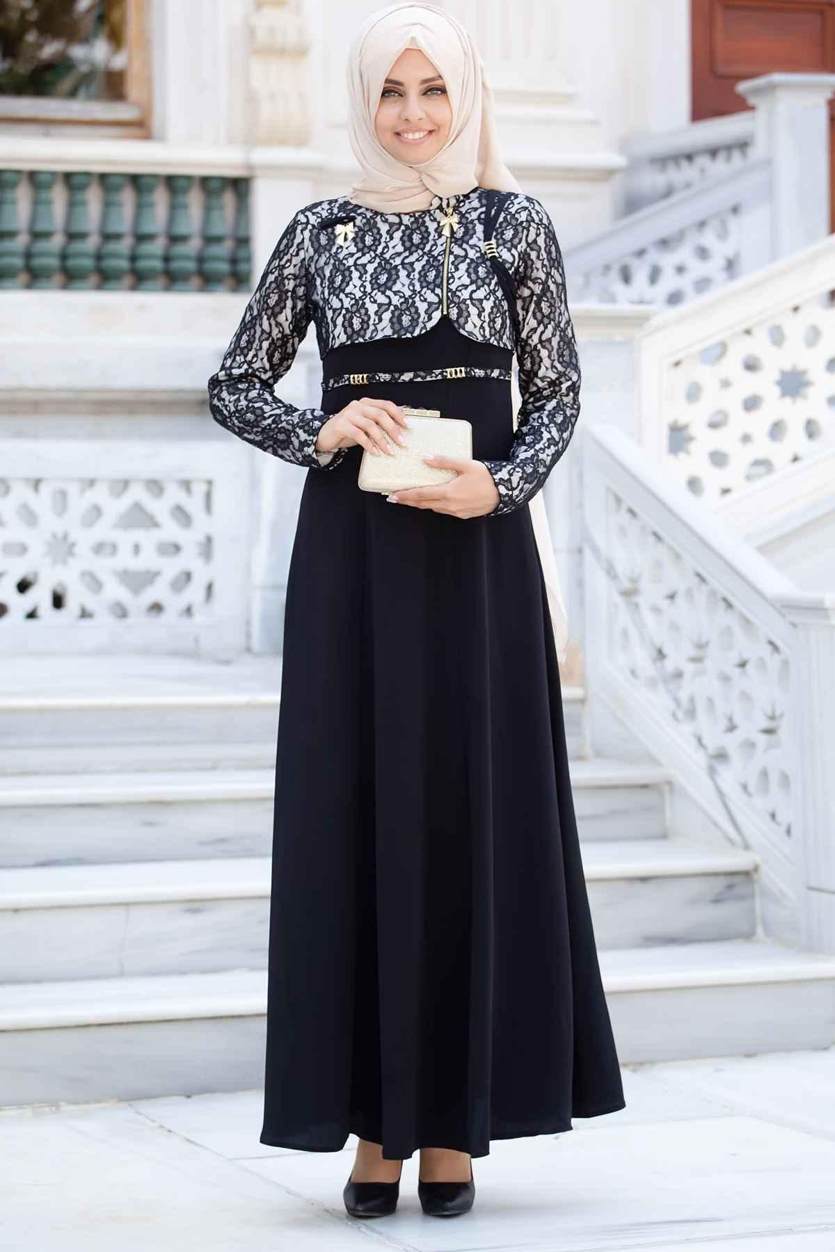 Sedanur Tesettür Bolero Görünümlü Abiye Elbise Modelleri