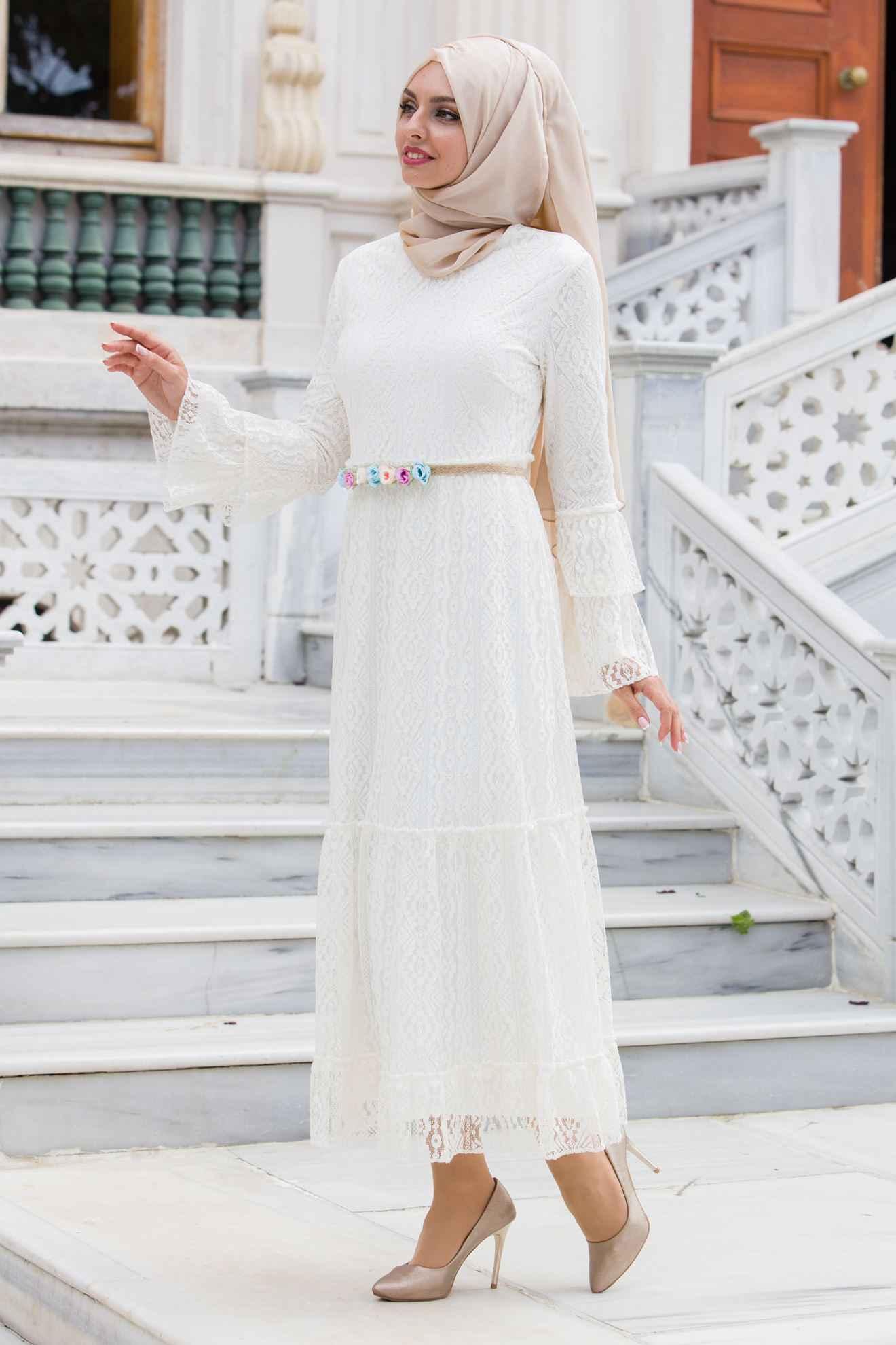 Sedanur Tesettür Dantelli Elbise Modelleri
