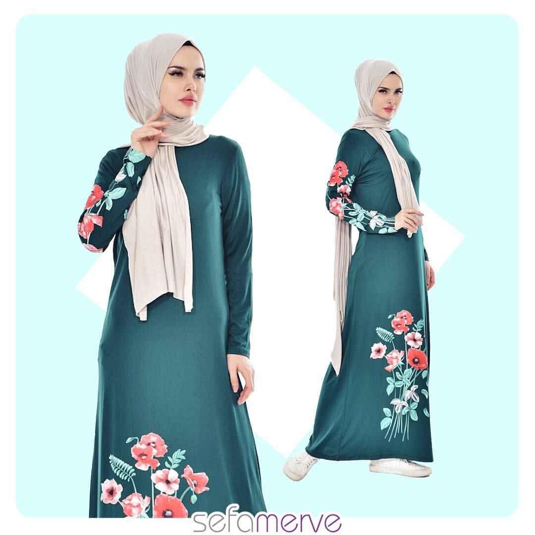 Sefamerve Çiçekli Tesettür Elbise Modeli