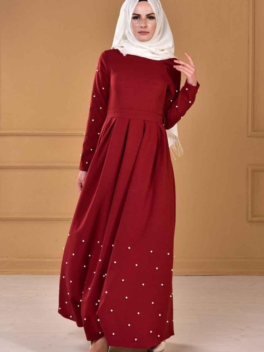 Sefamerve İnci Detaylı Tesettür Elbise Modelleri