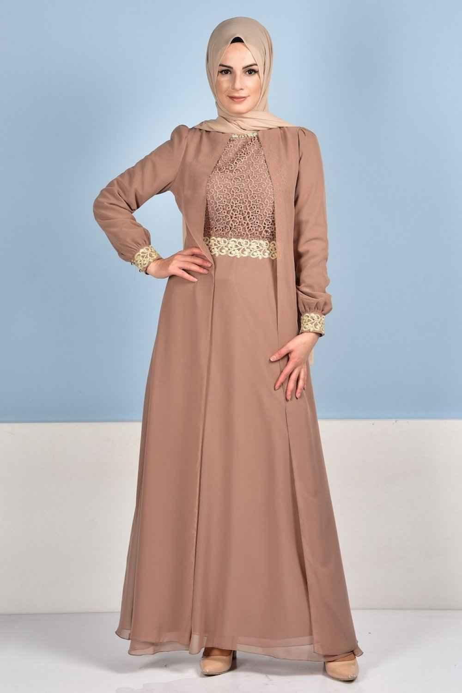 e704b7cc63739 Sefamerve Tesettür Şifon Abiye Elbise Modelleri - Moda Tesettür Giyim