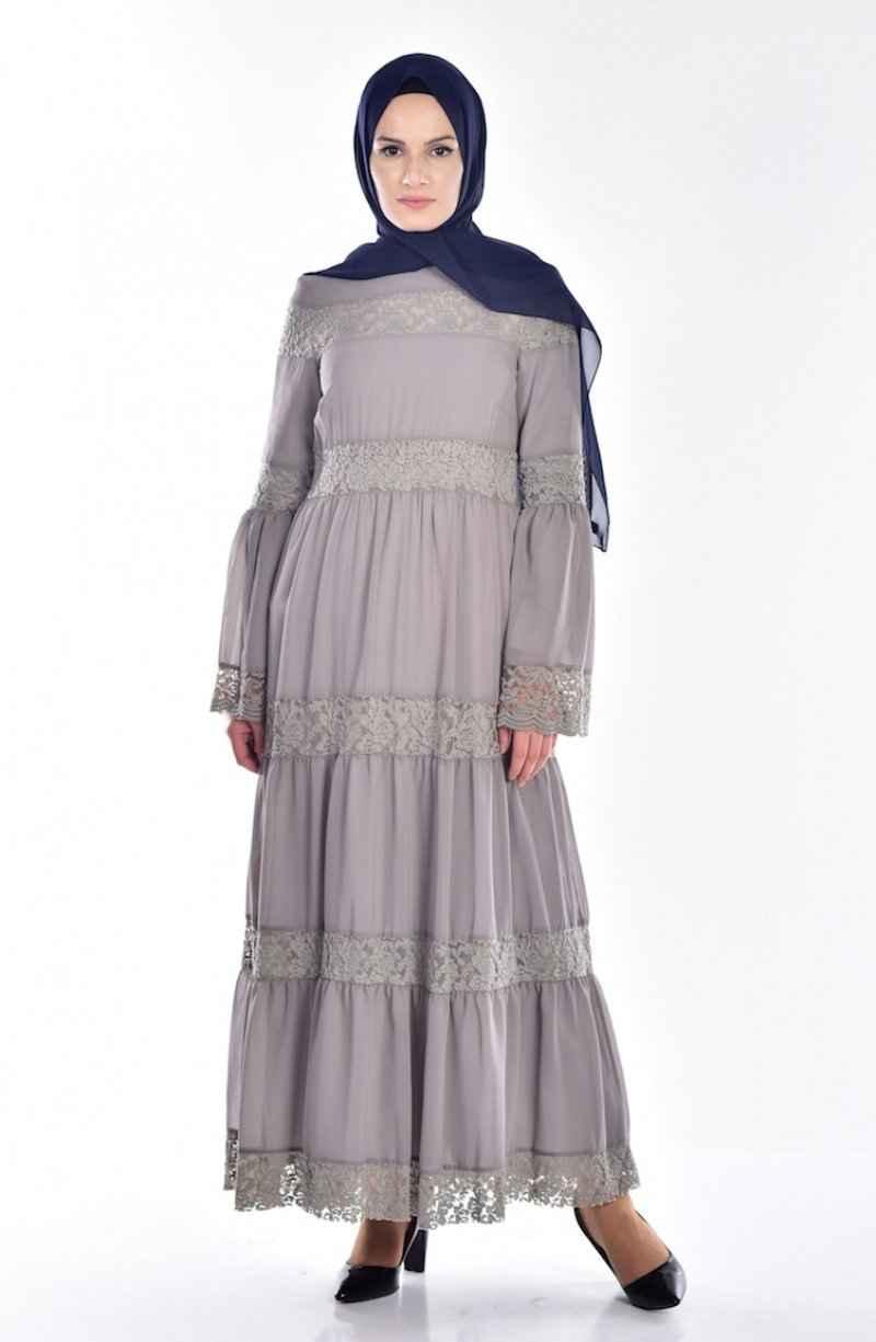 Sefamerve Tesettür Dantel Detaylı Elbise Modelleri