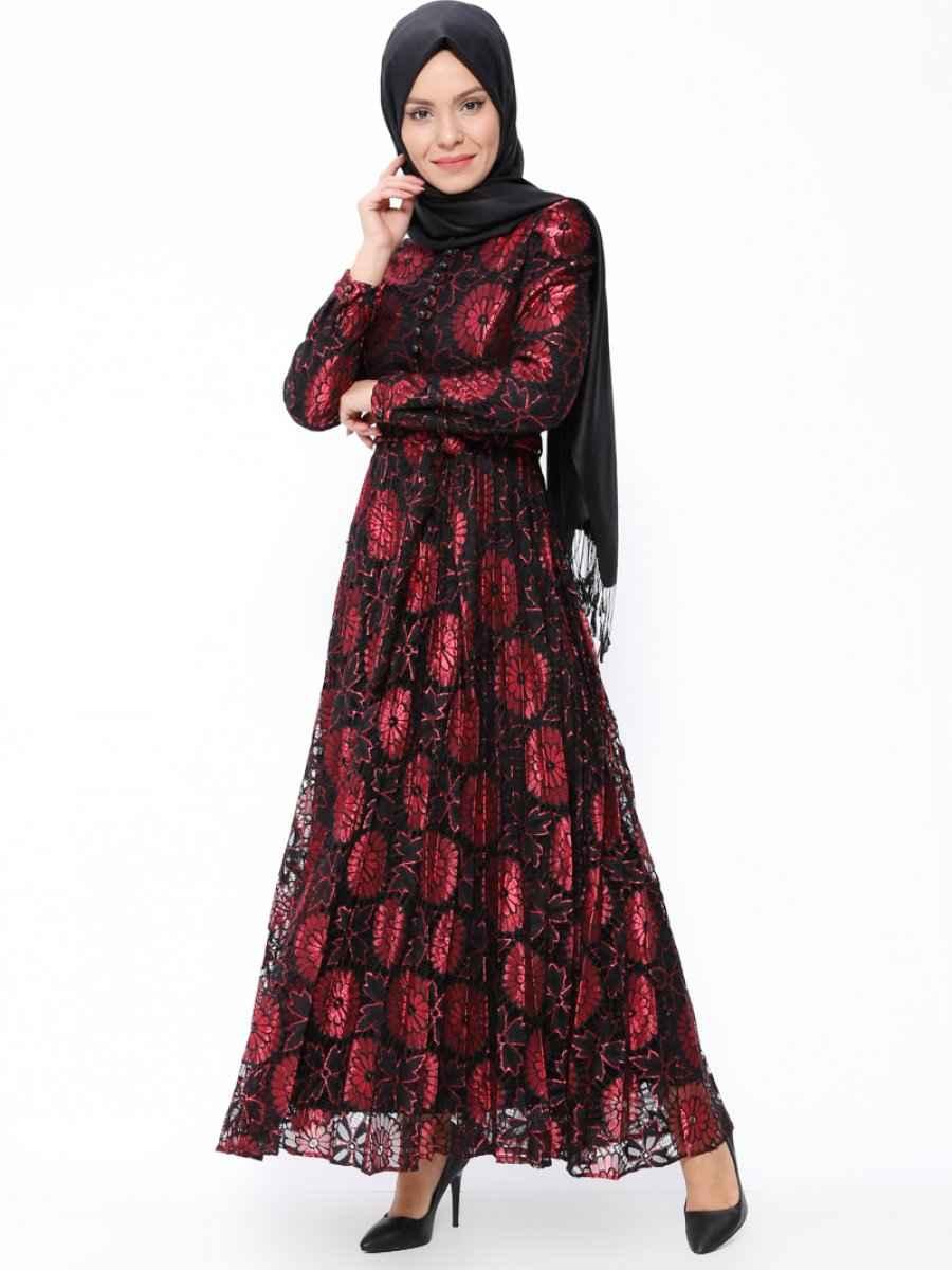 Tesettür Çiçekli Dantelli Elbise Modelleri