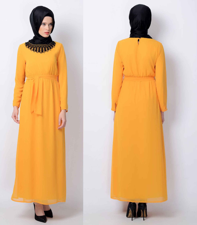 Tesettür Robalı Sarı Elbise Modelleri