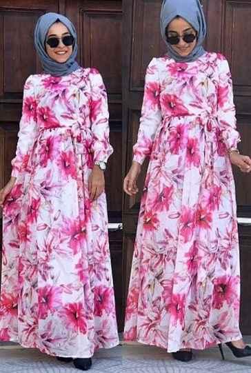 Uzun Tesettür Şifon Elbise Modelleri