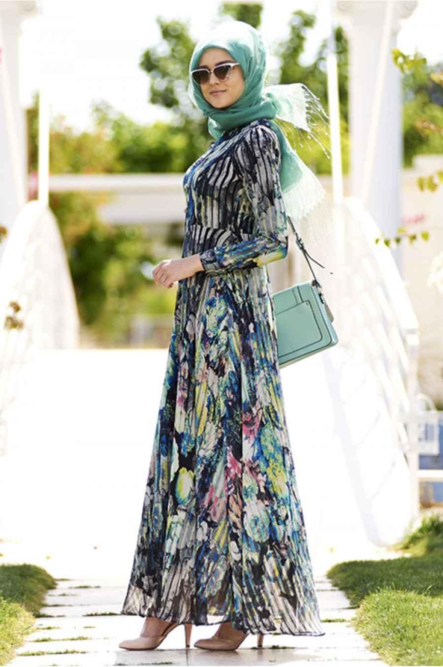 Zarif Tesettür Şifon Elbise Modelleri