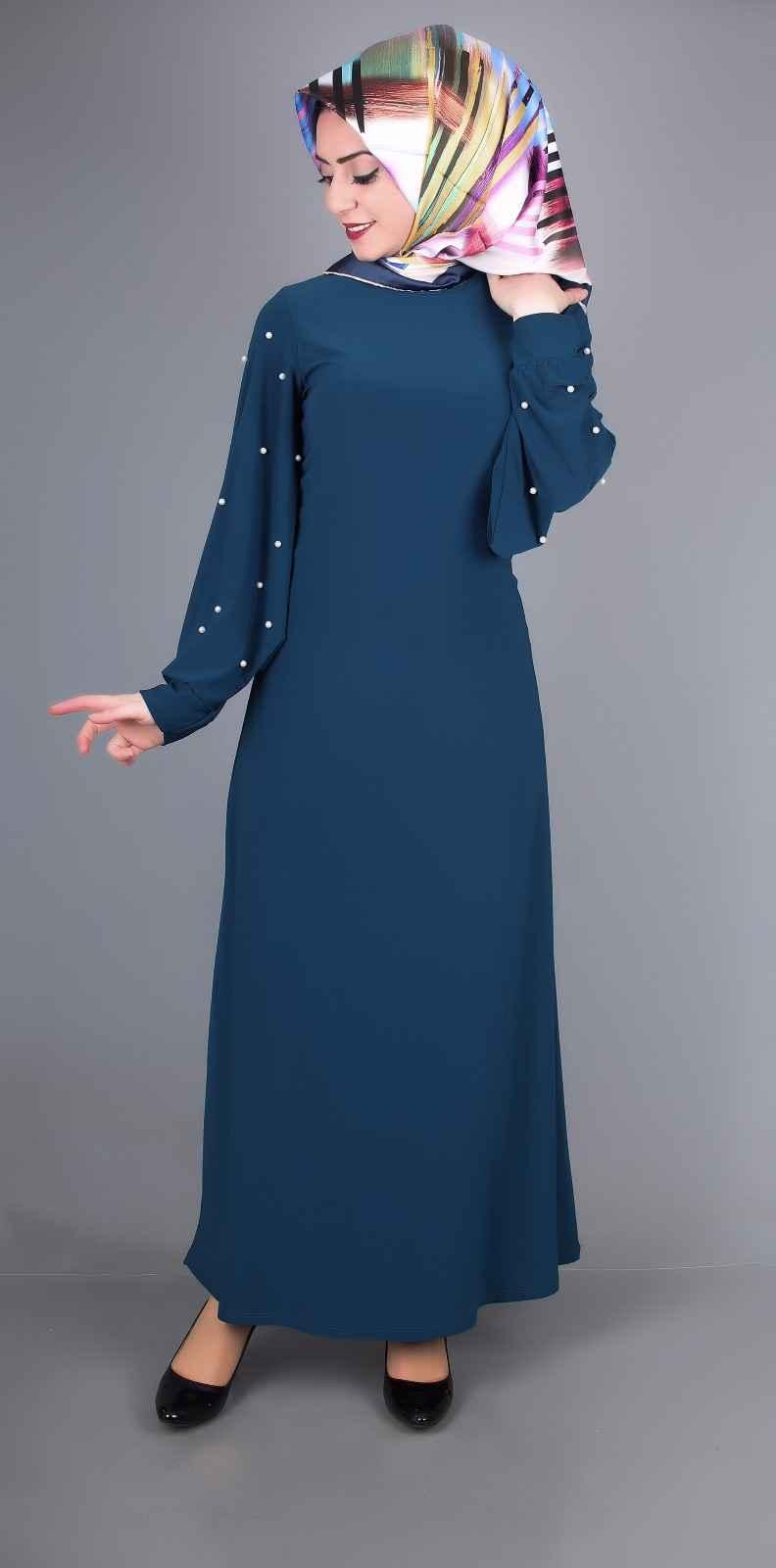 İncili Tesettür Balon Kol Elbise Modelleri