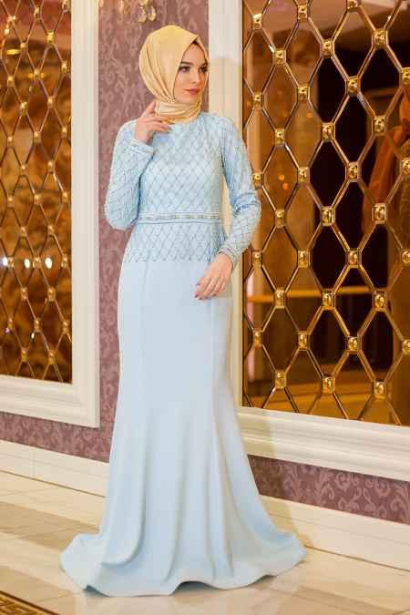 Açık Mavi Tesettür Balık Abiye Elbise Modelleri