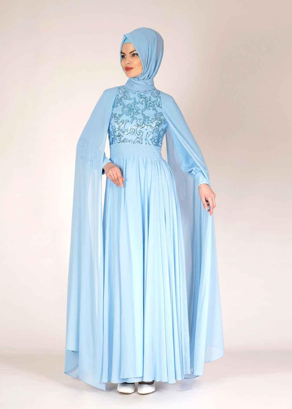 Alvina Tesettür Pelerinli Abiye Elbise Modelleri