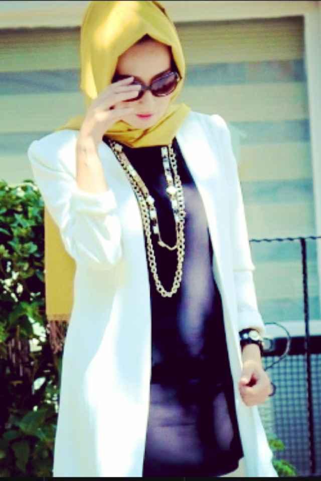 Beyaz Tesettür Blazer Ceket Modelleri