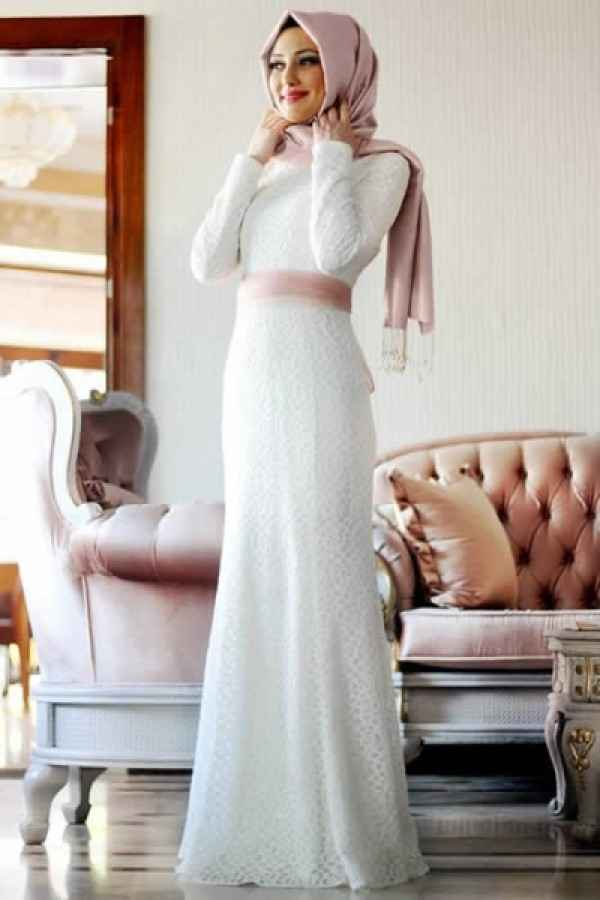 5719b132c27c5 Ekru Tesettür Balık Abiye Elbise Modelleri - Moda Tesettür Giyim