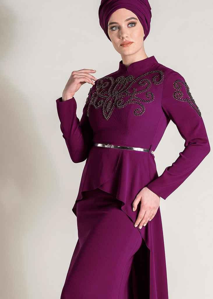 En Şık Alvina Tesettür Abiye Elbise Modelleri