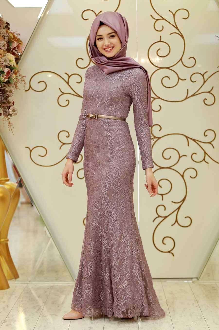 Gamze Özkul Tesettür Balık Abiye Elbise Modelleri