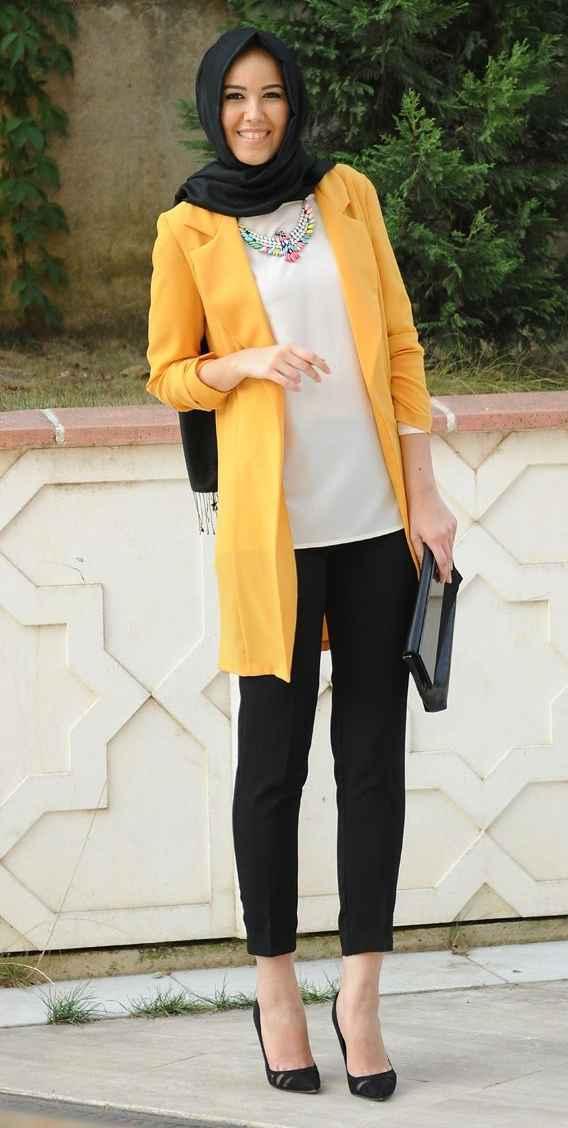 Hardal Sarısı Tesettür Blazer Ceket Modelleri