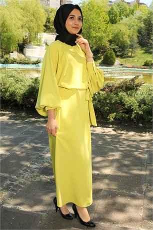 Marka Ala Şık Tesettür Balon Kol Elbise Modelleri