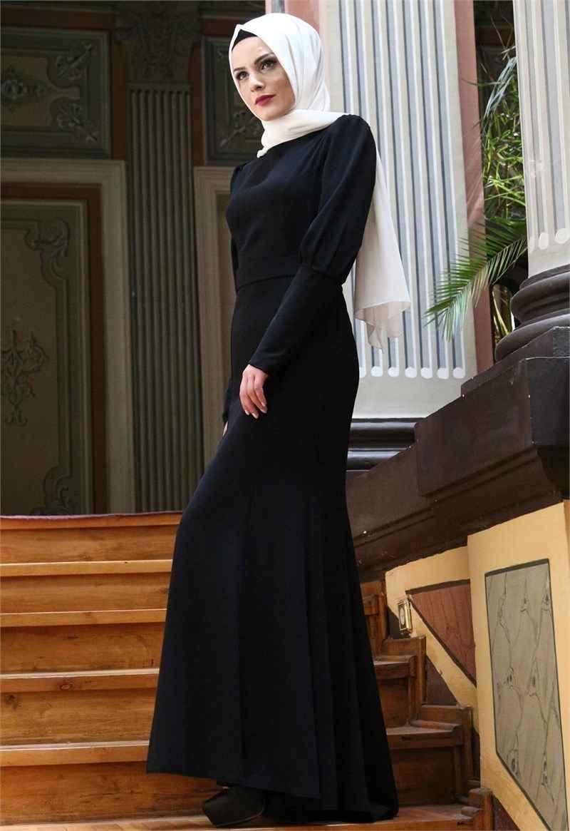 Modamerve Siyah Tesettür Balık Abiye Elbise Modelleri