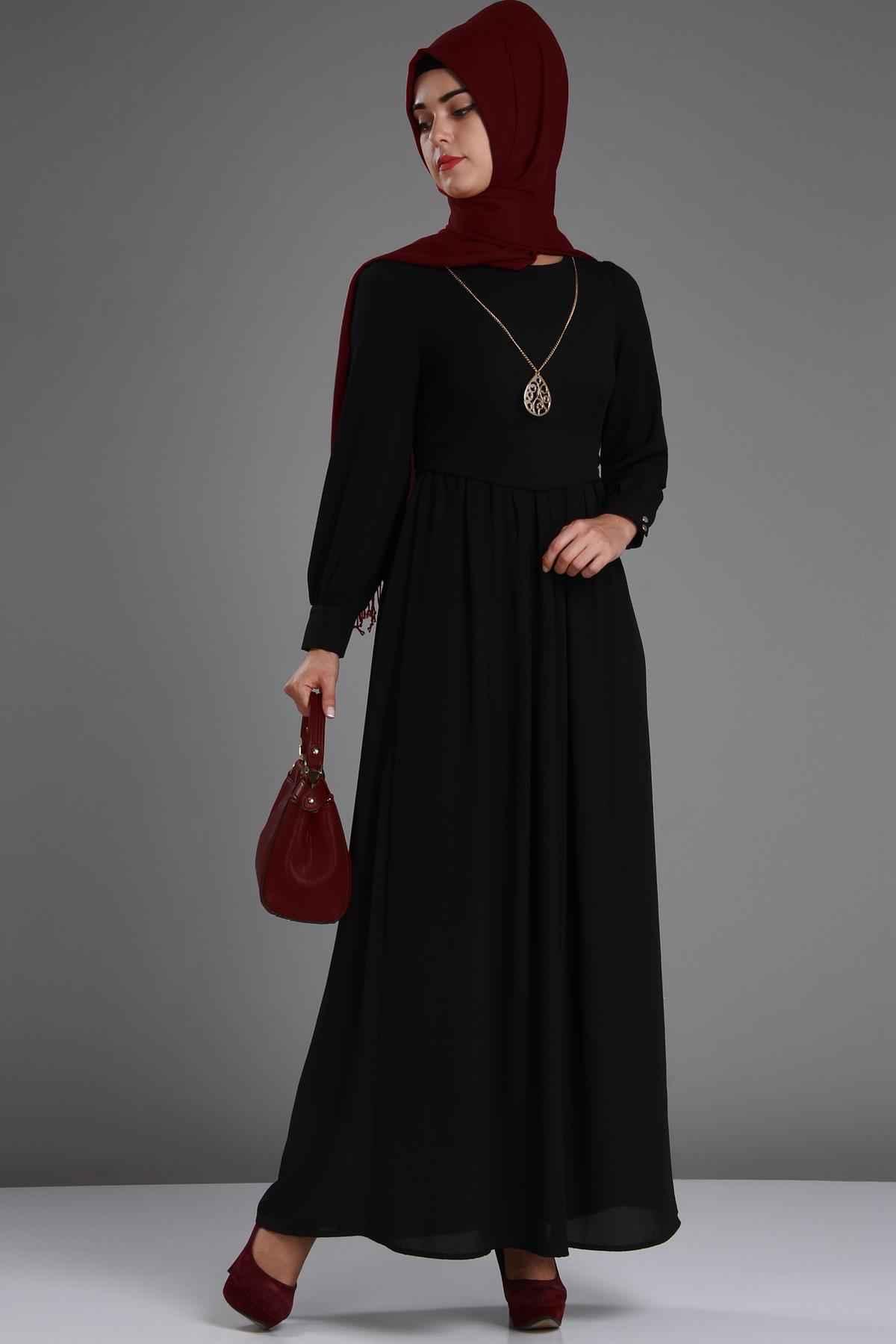 Patırtı Aksesuarlı Tesettür Şifon Elbise Modelleri