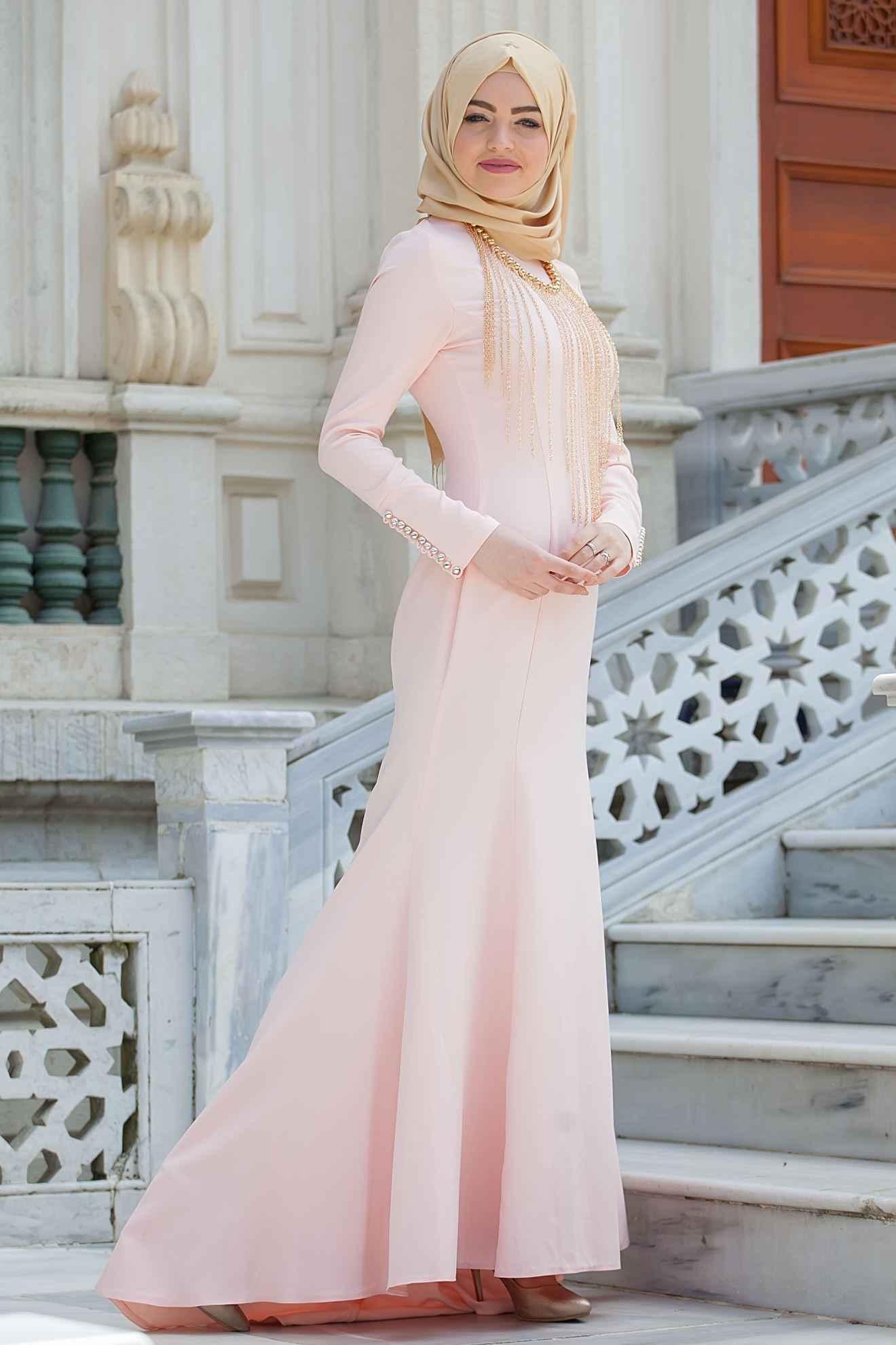 Tesettür Balık Abiye Elbise Modelleri
