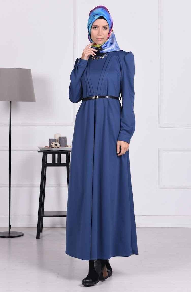Sefamerve Toka Aksesuarlı Tesettür Elbise Modelleri