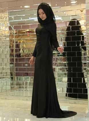 Siyah Tesettür Balık Abiye Elbise Modelleri
