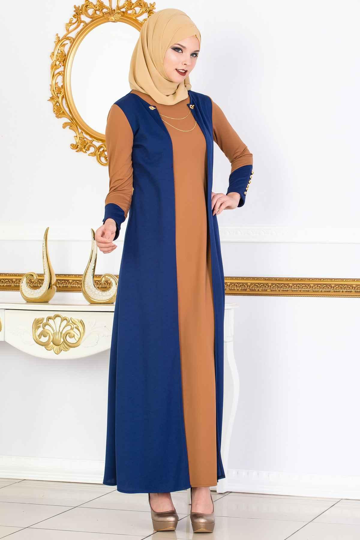 Zincir Aksesuarlı Tesettür Elbise Modelleri