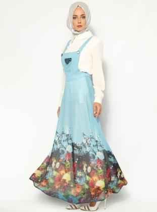 Çiçek Desenli Askılı Tesettür Elbise Modelleri