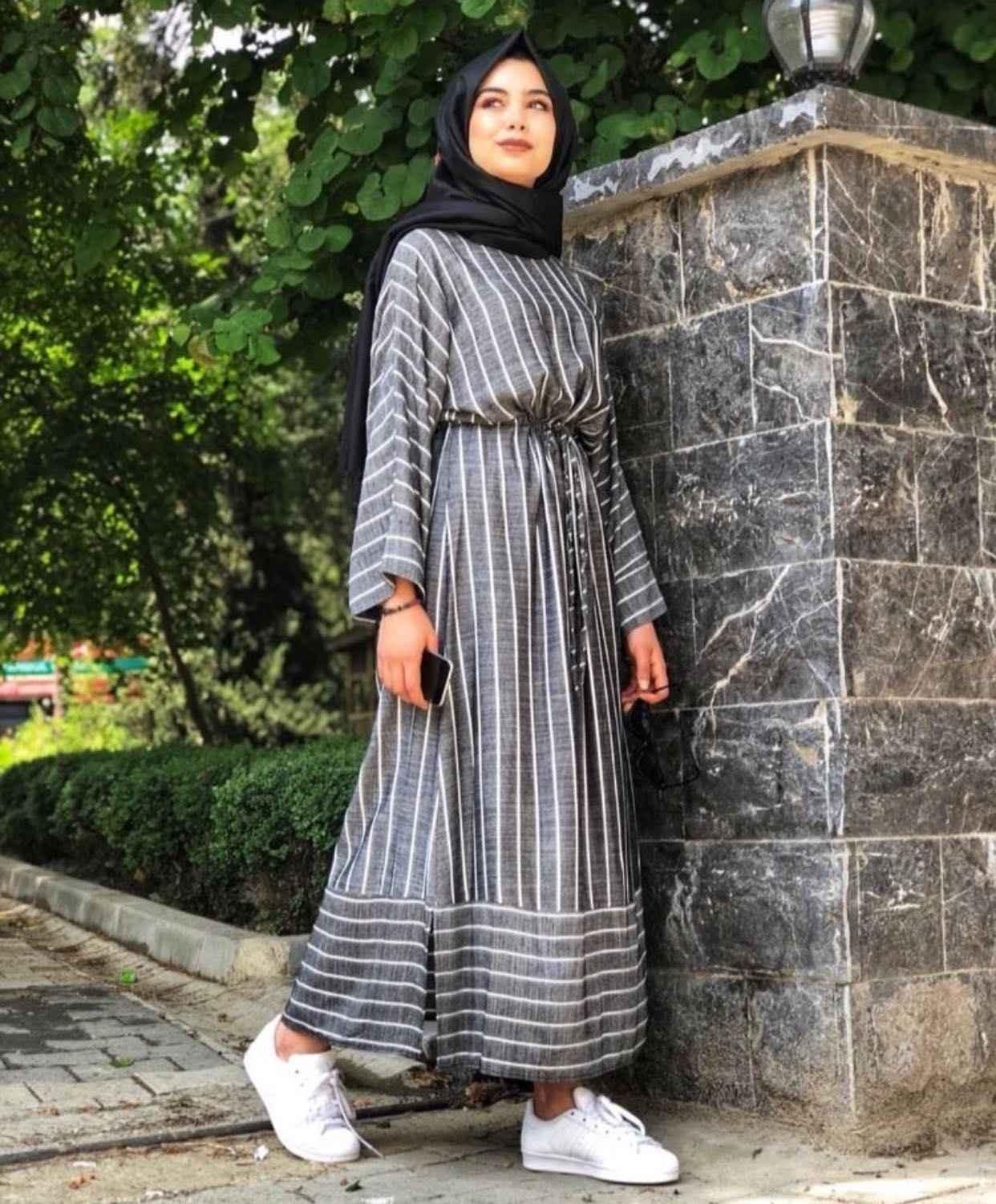 b53d88c885838 Çizgili Tesettür Salaş Elbise Modelleri - Moda Tesettür Giyim