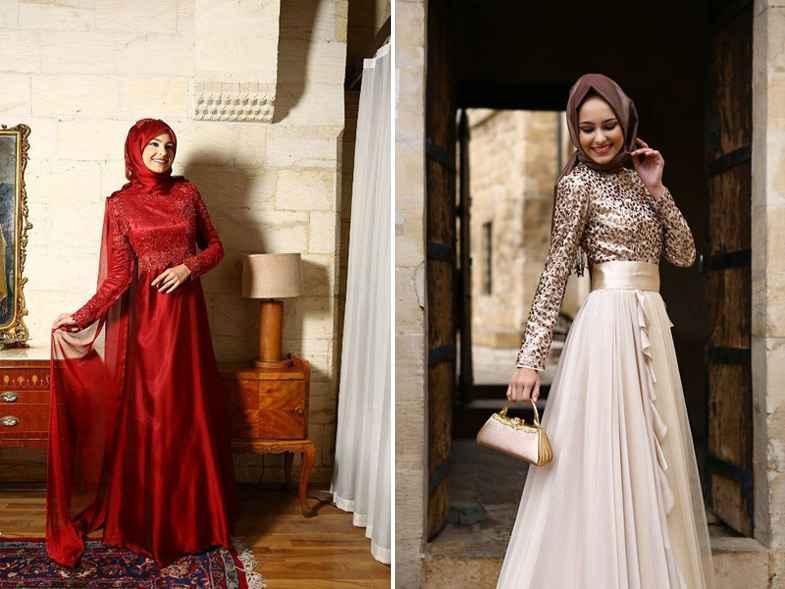 Şık Tesettür Payetli Abiye Elbise Modelleri
