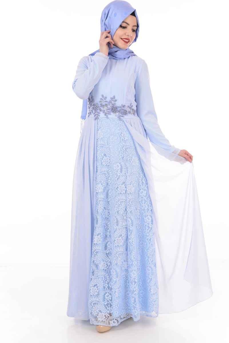 Şifon ve Dantelli Modamerve Tesettür Abiye Elbise Modelleri