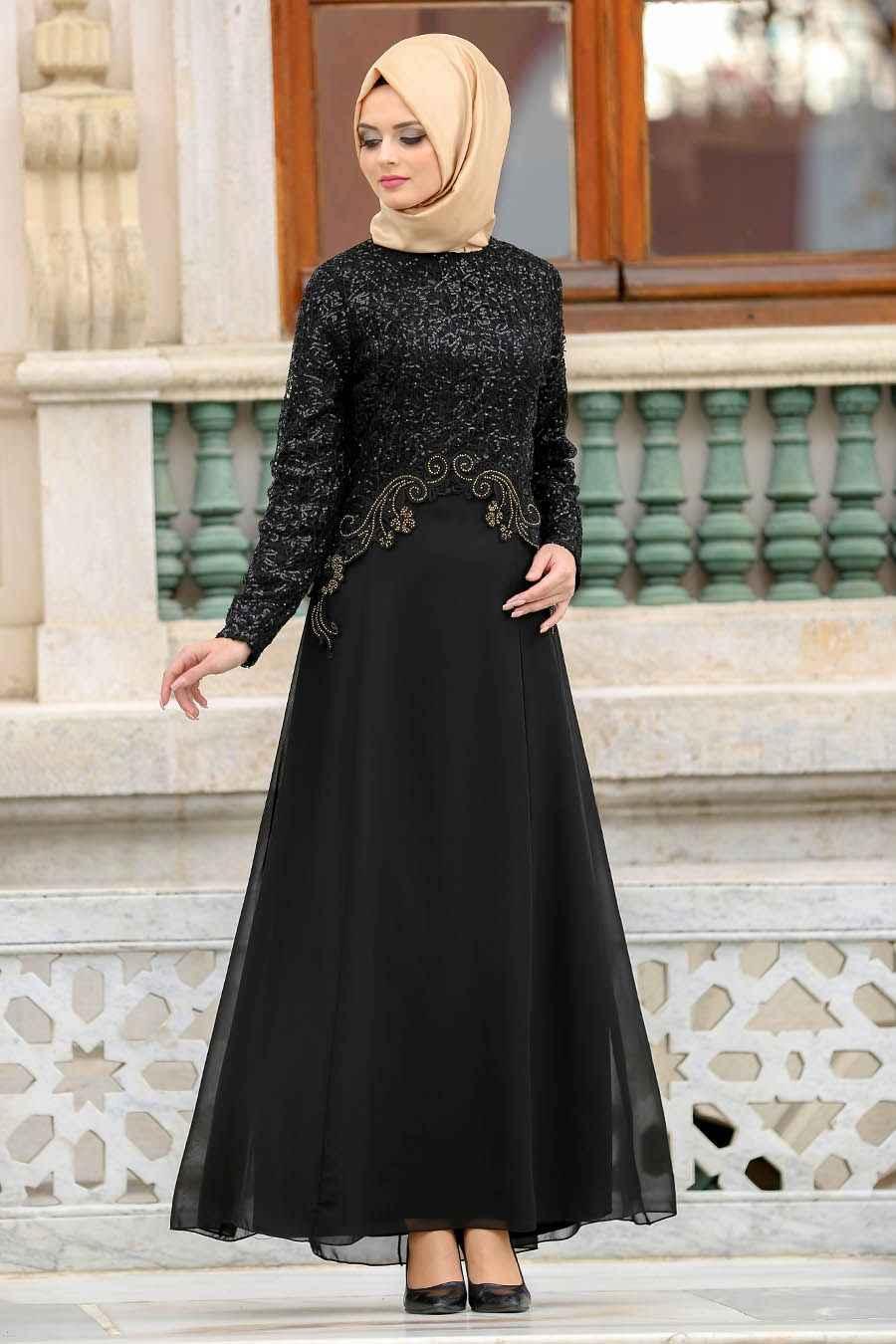 2018 Tesettür Payetli Abiye Elbise Modelleri