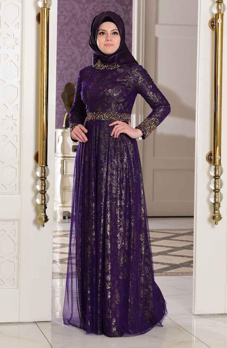 Boncuk Detaylı Sefamerve Tesettür Abiye Elbise Modelleri