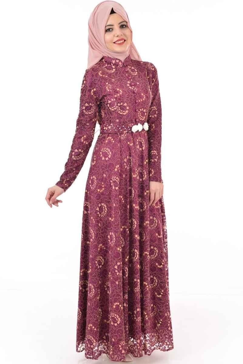 Dantelli Modamerve Tesettür Abiye Elbise Modelleri