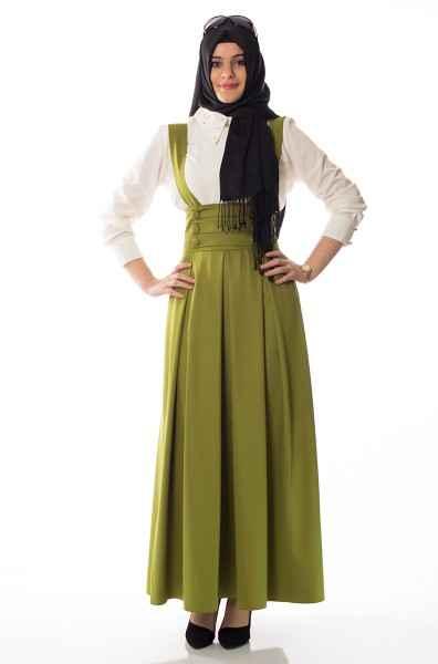 En Şık Askılı Tesettür Elbise Modelleri