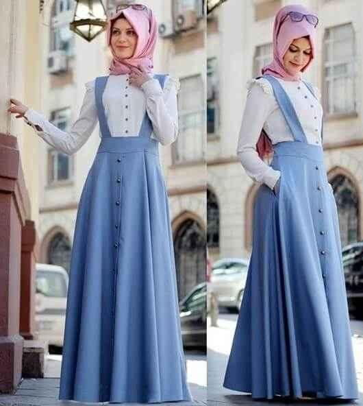 En Güzel Askılı Tesettür Elbise Modelleri