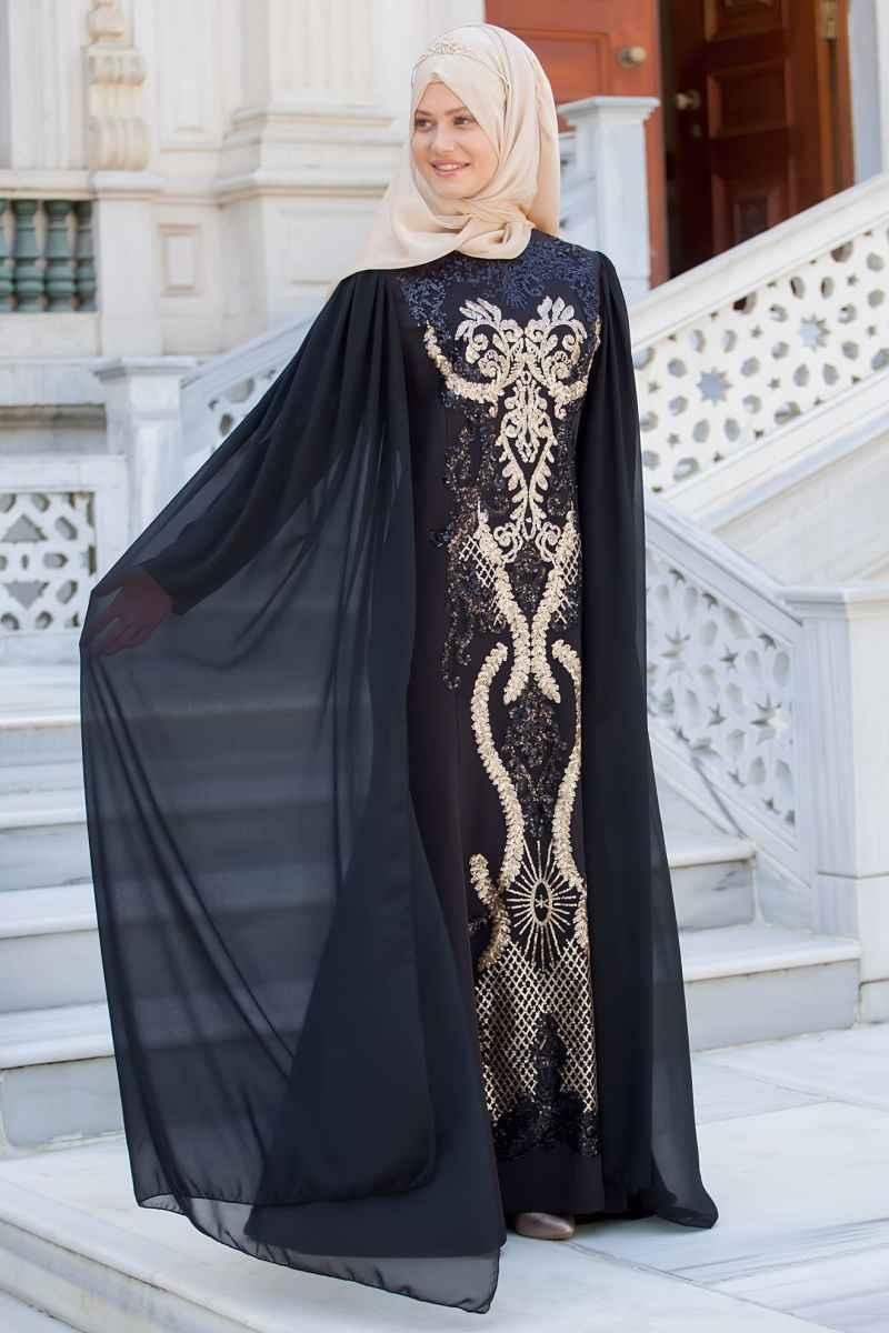 Fulyan Tesettür Payetli Abiye Elbise Modelleri