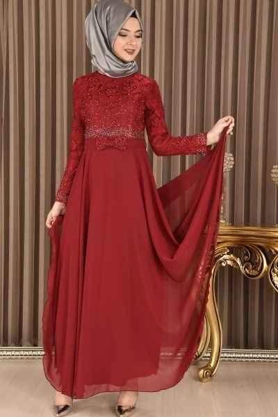 Güpür ve Taş Baskılı Modamerve Tesettür Abiye Elbise Modelleri