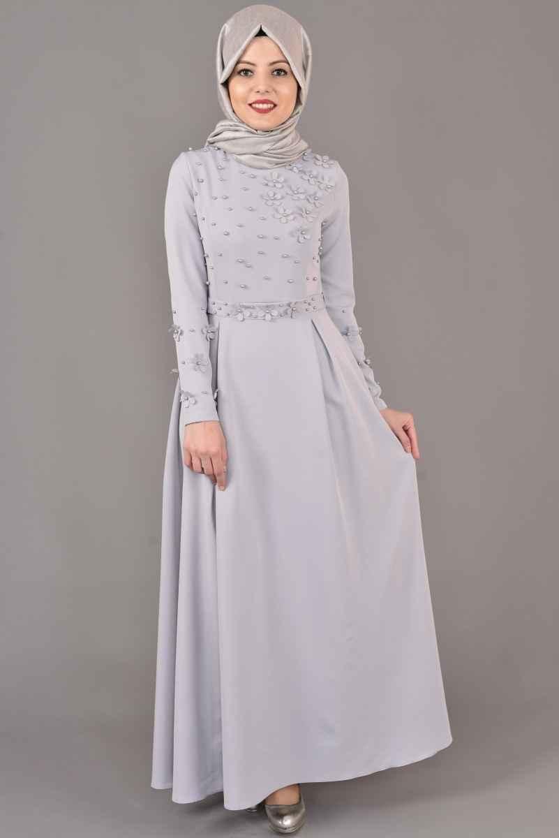 Modamerve Şık Tesettür İncili Elbise Modelleri