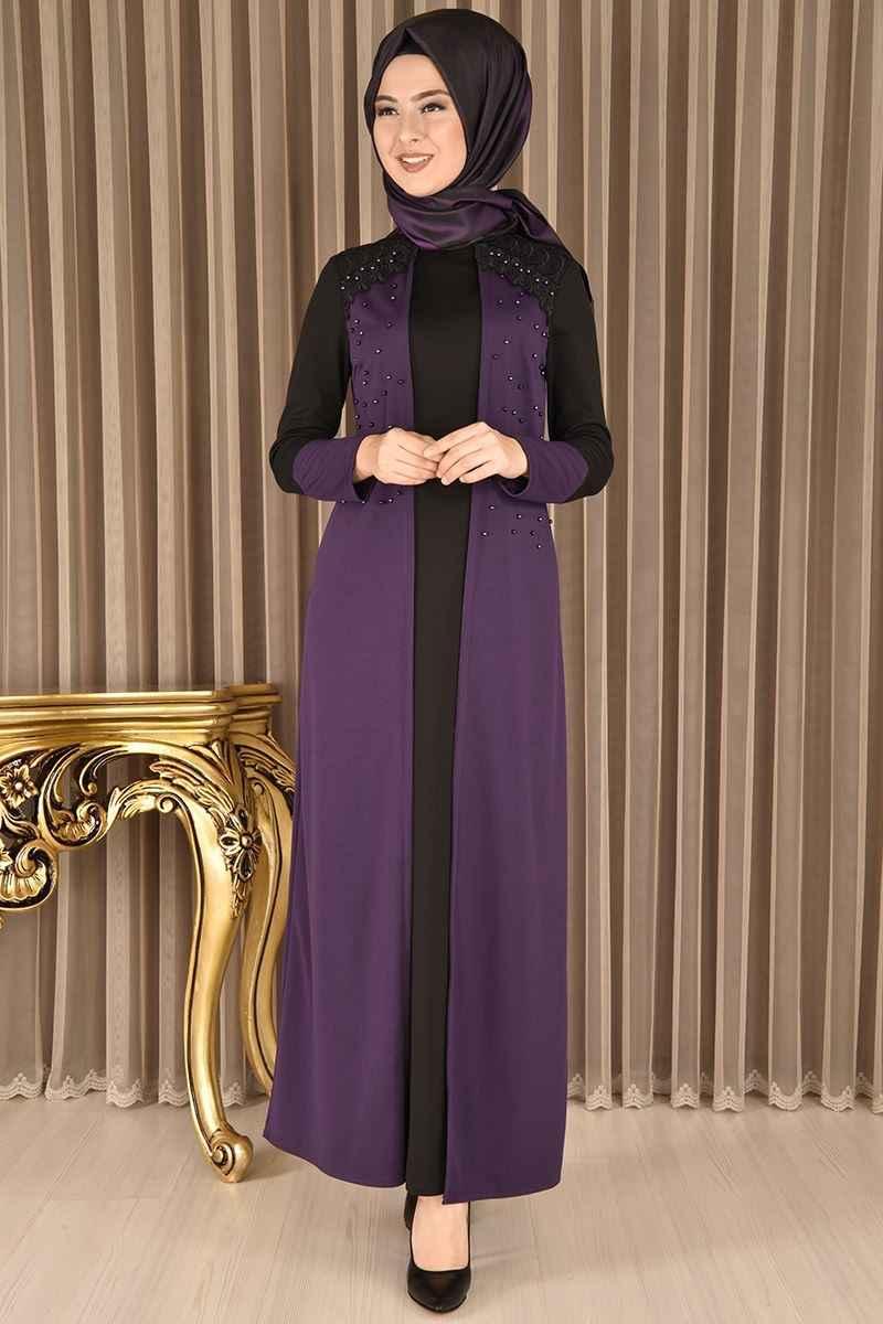Modamerve En Şık Tesettür İncili Elbise Modelleri