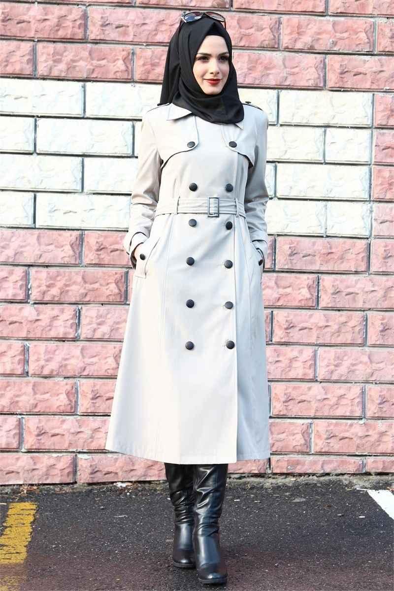 Modamerve Kışlık Tesettür Trençkot Modelleri