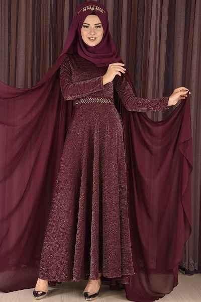 Modamerve Pelerinli Tesettür Abiye Elbise Modelleri