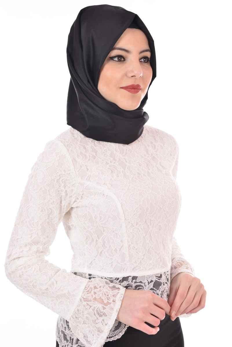 Modamerve Tesettür Dantelli Beyaz Bluz Modelleri