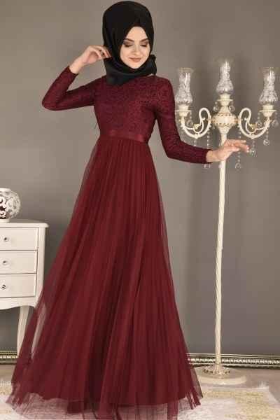Modamerve Tesettür Piliseli Tül Abiye Elbise Modelleri