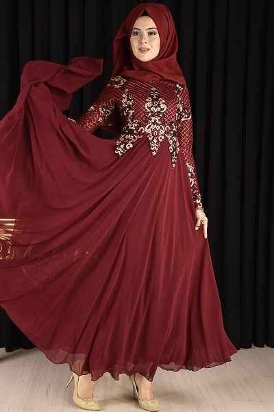 Modamerve Tesettür Pul Payet Abiye Elbise Modelleri