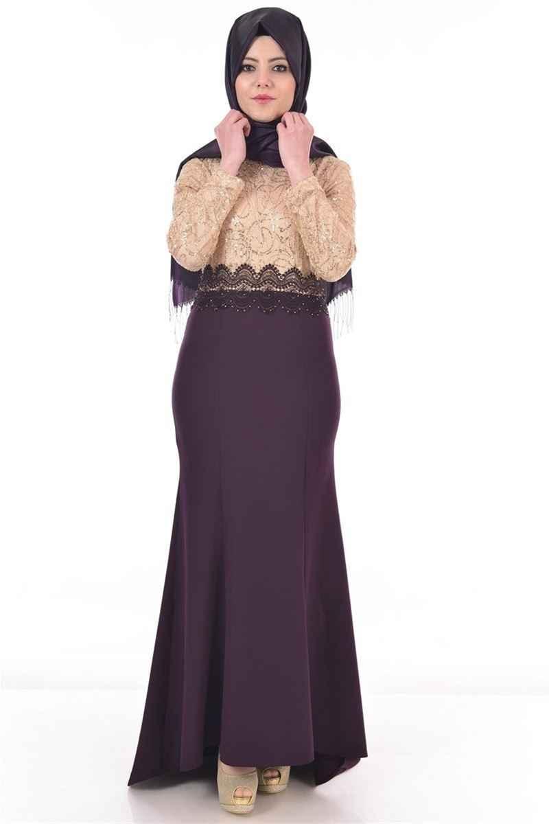 Modamerve Tesettür Pul Payetli Abiye Elbise Modelleri