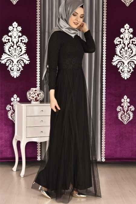 Modamerve Tesettür Simli Abiye Elbise Modelleri