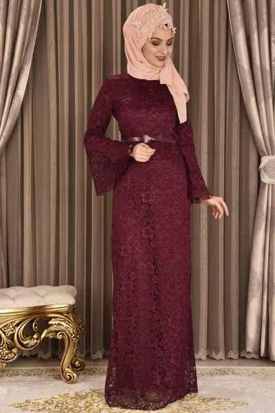 Modamerve Tesettür Volan Kol Abiye Elbise Modelleri