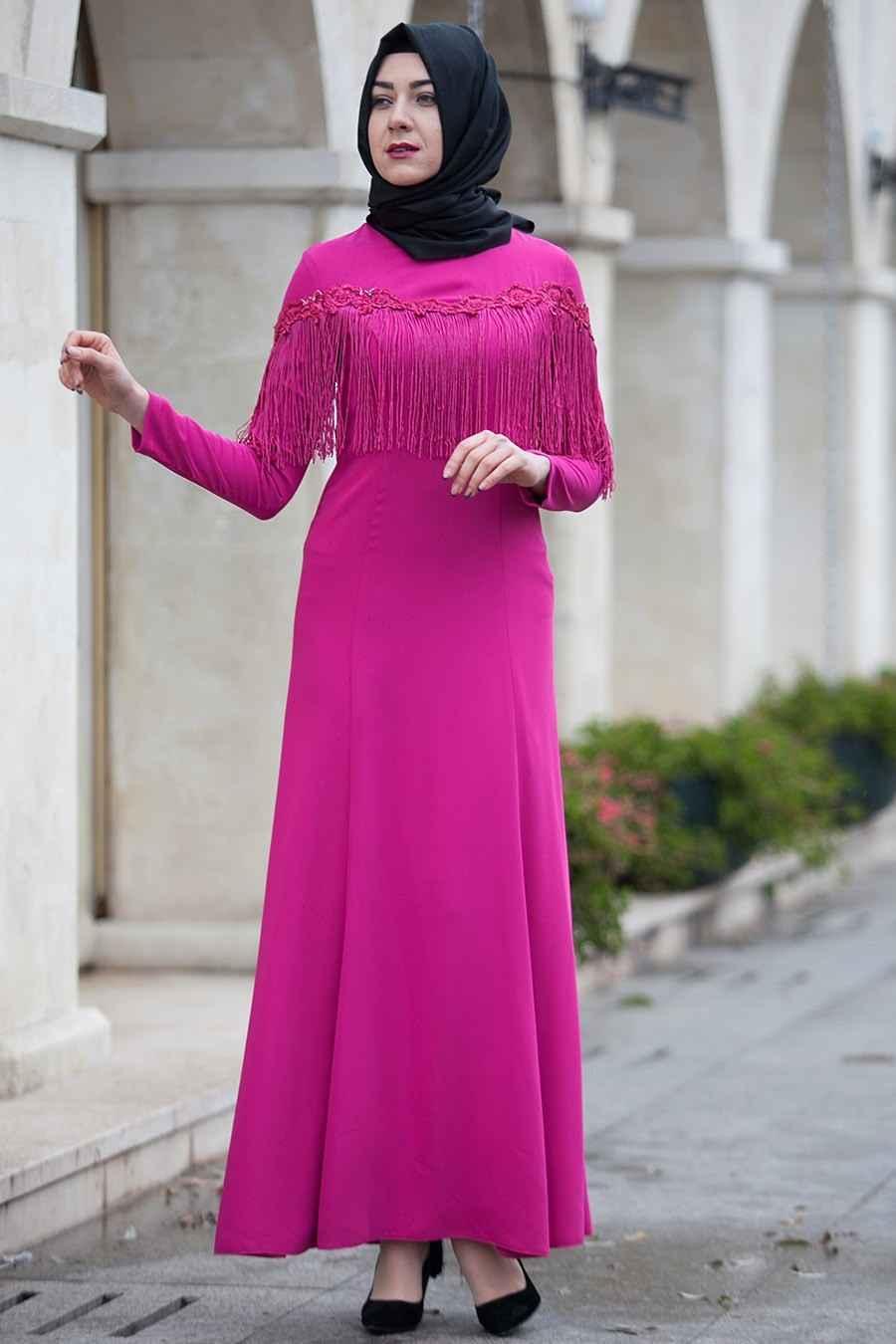 Modaneva Tesettür Püsküllü Elbise Modelleri